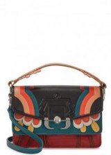 PAULA CADEMARTORI Twi Twi appliquéd leather shoulder bag ~ small top handle bags ~ multicoloured floral applique handbags