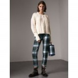 BURBERRY Two-tone Cable Knit Wool Cashmere Sweater | textured tonal-white sweaters | luxe knitwear