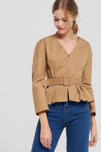 STORETS Tyra Zip Front Blouse With Belt | beige belted pleat hem tops