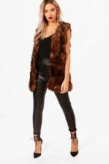 boohoo Una Boutique Faux Fur Gilet | fluffy brown gilets | sleeveless winter jackets