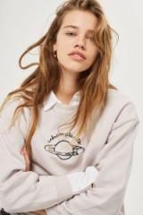 Tee & Cake Unknown Planets Boxy Sweatshirt / pale grey slogan sweatshirts