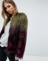 Unreal Fur Liquid Fudge Jacket / olive-green/plum ombre jackets / luxe style outerwear