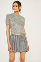 Urban Outfitters Firework Cropped Fuzzy Jumper ~ short sleeved silver jumpers ~ soft jumpers