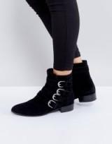 Vagabond Gigi Black Suede Ankle Boots ~ black buckle boots