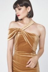 Lavish Alice Velvet Asymmetric Midi Dress in Gold / luxe gold dresses / asymmetric party fashion