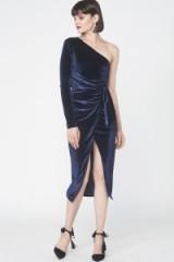 Lavish Alice Velvet One Shoulder Wrap Midi Dress / navy-blue party dresses / luxe style evening fashion