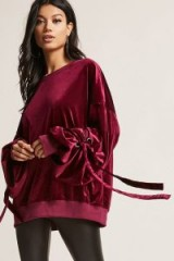FOREVER 21 Velvet Oversized Sweatshirt | wine-red sweatshirts