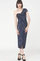Lavish Alice Velvet Sequin Twisted Detail Midi Dress / blue one shoulder party dresses / luxe occasion fashion