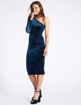 M&S COLLECTION Velvet Sparkle Bodycon Midi Dress / blue one shoulder dresses