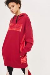 Ivy Park Velvet Trim Hooded Dress / red logo print hoody dresses