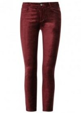 PAIGE Verdugo claret velvet skinny jeans ~ dark red trousers