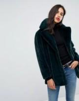 Vero Moda Oversized Faux Fur Coat – plush green jackets