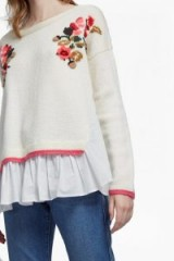 FRENCH CONNECTION VIENNA KNIT EMBROIDERED JUMPER ~ cotton peplum hem jumpers ~ floral knitwear