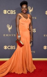 Viola Davis at the 2017 Emmy Awards wearing an orange Zac Posen gown | red carpet dresses