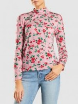 VIVETTA‎ Midrand Jersey Floral Long Sleeve Top | pink high roll neck tops