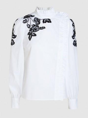 VIVETTA Yokoama Embroidered Shirt ~ white ruffle neck shirts