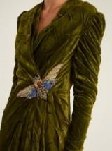 GUCCI V-neck embellished green velvet gown
