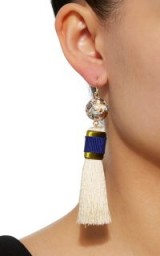 Mimilore White Tassel With Olive And Navy Earrings