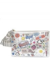 ANYA HINDMARCH Wink Clutch With Stickers ~ metallic silver pouch