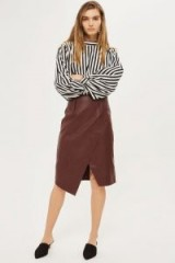 Topshop Wrap Midi PU Pencil Skirt | oxblood-red asymmetric skirts