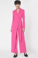 Lavish Alice Wrap Over Tailored Jumpsuit in Fuchsia Pink / luxe jumpsuits