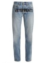 VETEMENTS X Levi's logo-embroidery low-rise wide-leg jeans   light blue denim