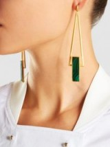 ZEUS+DIONE‎ Petra Gold Plated Malachite Earrings ~ green stone statement jewellery