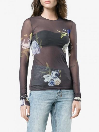 Acne Studios Niala Floral Printed Sheer Top / sheer crew neck tops