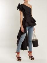JOHANNA ORTIZ Agave one-shoulder asymmetric cotton top ~ draped statement tops