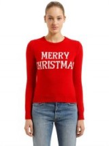 ALBERTA FERRETTI SLIM MERRY CHRISTMAS WOOL BLEND SWEATER / red Xmas jumpers