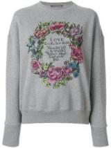 ALEXANDER MCQUEEN Love wreath print sweatshirt / grey slogan sweatshirts