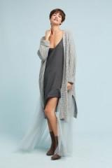 Amadi Alice Tulle Longline Cardigan   long grey semi sheer cardigans
