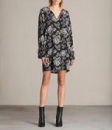 ALLSAINTS ASTER KASURI DRESS in WASHED BLACK | floral cold shoulder shift dresses | floaty party fashion