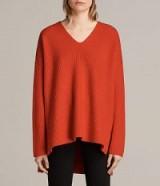 ALLSAINTS CLEA V-NECK JUMPER in VERMILLION RED | oversized jumpers