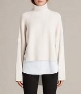 ALLSAINTS JONES JUMPER in CHALK WHITE | high neck, shirt hem jumpers
