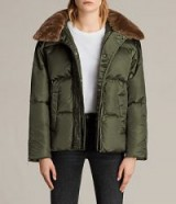 ALLSAINTS PAX PUFFER JACKET / khaki green padded jackets / faux fur collared coats