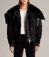 ALLSAINTS TRUX BOMBER JACKET | black winter fur lined jackets