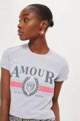 Topshop 'Amour' Slogan T-Shirt / grey short sleeve t-shirts