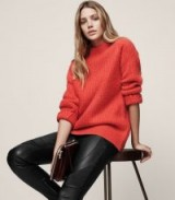 REISS ANNABELLA CHUNKY FUNNEL-NECK JUMPER RED