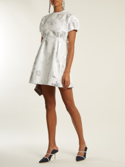 EMILIA WICKSTEAD Arielle floral-jacquard mini dress ~ silver and white dresses ~ beautiful fashion ~ feminine style