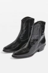 Topshop Arizona Western Boots / shiny black cowboy ankle boot