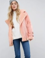 ASOS Aviator Jacket in Faux Suede ~ coral winter jackets