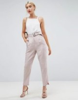 ASOS Belted Trouser In Pastel Sheen   pink tapered leg trousers