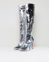 ASOS CAIDEN Pointed Knee High Boots – shiny silver metallic