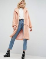 ASOS Coat in Luxe Teddy Borg ~ pink coats