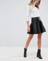 ASOS Leather Mini Flippy Skirt | short black pleated skirts