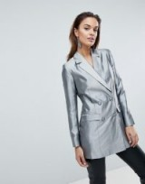 ASOS Longline Blazer in Metallic ~ silver evening jackets ~ party fashion
