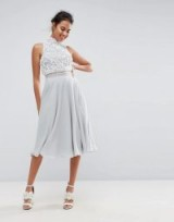 ASOS Pearl Embellished Crop Top Midi Skater Dress ~ pale blue party dresses ~ luxe style fit and flare