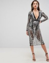ASOS RED CARPET Geo Embellished Panelled Cut Out Back Midi Dress ~ silver metallic party dresses ~ glamorous style evening fashion