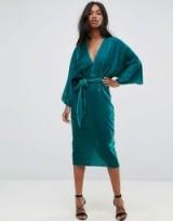 ASOS Velvet Plunge Kimono Midi Dress with Tie Waist | turquoise plunging dresses | oriental style wide sleeves